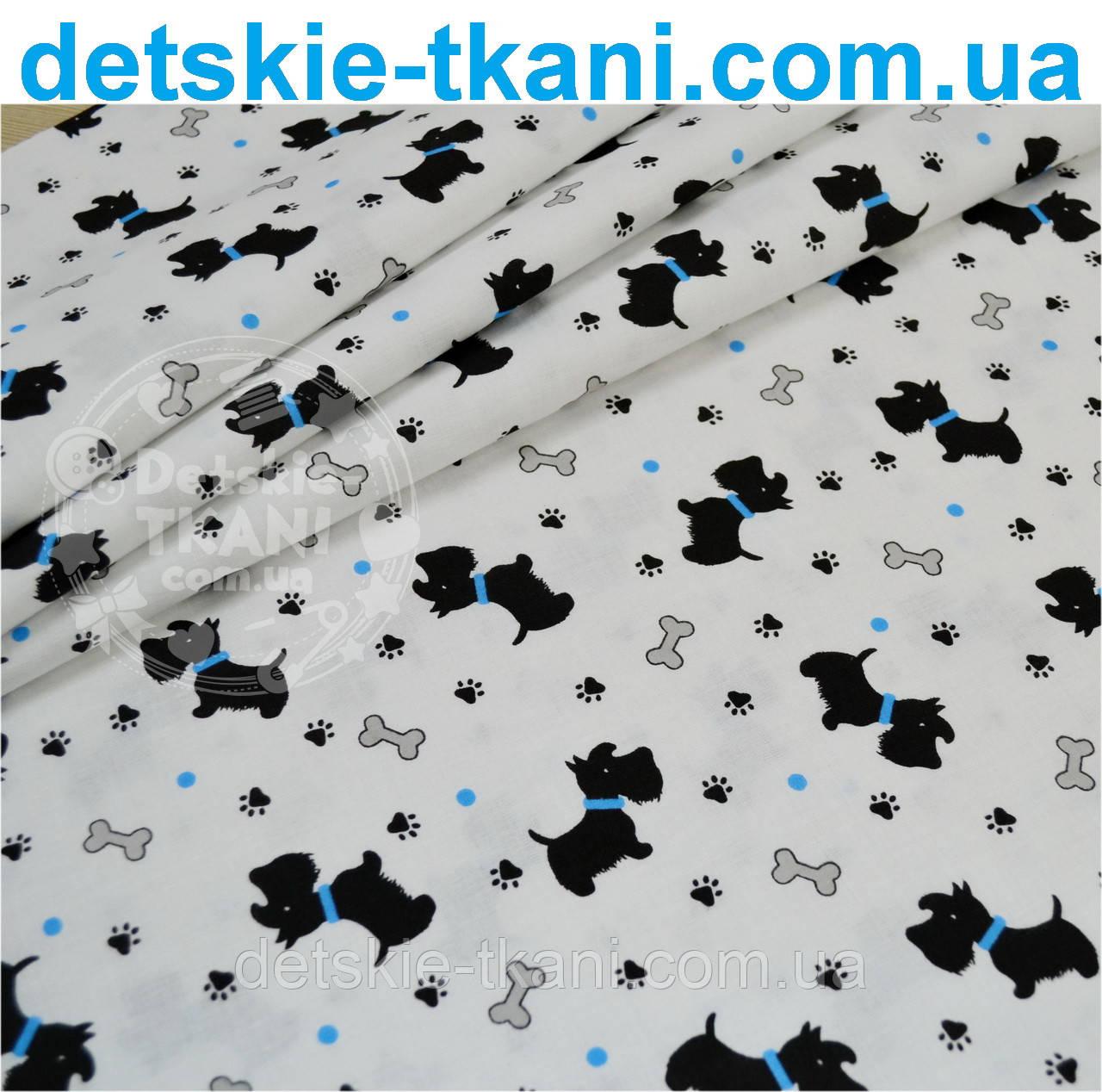 """Отрез ткани """"Собачки с голубыми ошейниками"""" № 550а"""