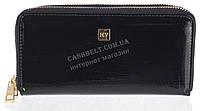 Стильный лаковый женский кожаный кошелек барсетка, две молнии высокого качества H.VERDE art. 2547TS-B61 черный