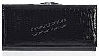 Лаковый классический женский кожаный кошелек под кожу рептилии высокого качества H.VERDE art. 2029R-67 черный