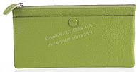 Стильный практичный тонкий яркий женский кошелек из очень мягкой качественной кожи SALFEITE art. 3231 зеленый