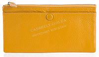 Стильный практичный тонкий яркий женский кошелек из очень мягкой качественной кожи SALFEITE art. 3231 желтый