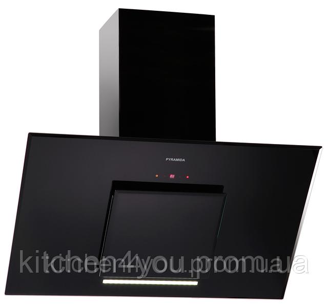 Pyramida HES 30 D-900 black/AJ (900 мм.) наклонная кухонная вытяжка, черное стекло / черная эмаль, Aero2Jet