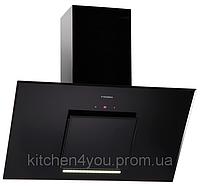 Pyramida HES 30 D-900 black/AJ (900 мм.) наклонная кухонная вытяжка, черное стекло / черная эмаль, Aero2Jet, фото 1