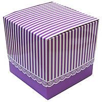 Упаковка для чашек из картона с принтом (фиолетовая)