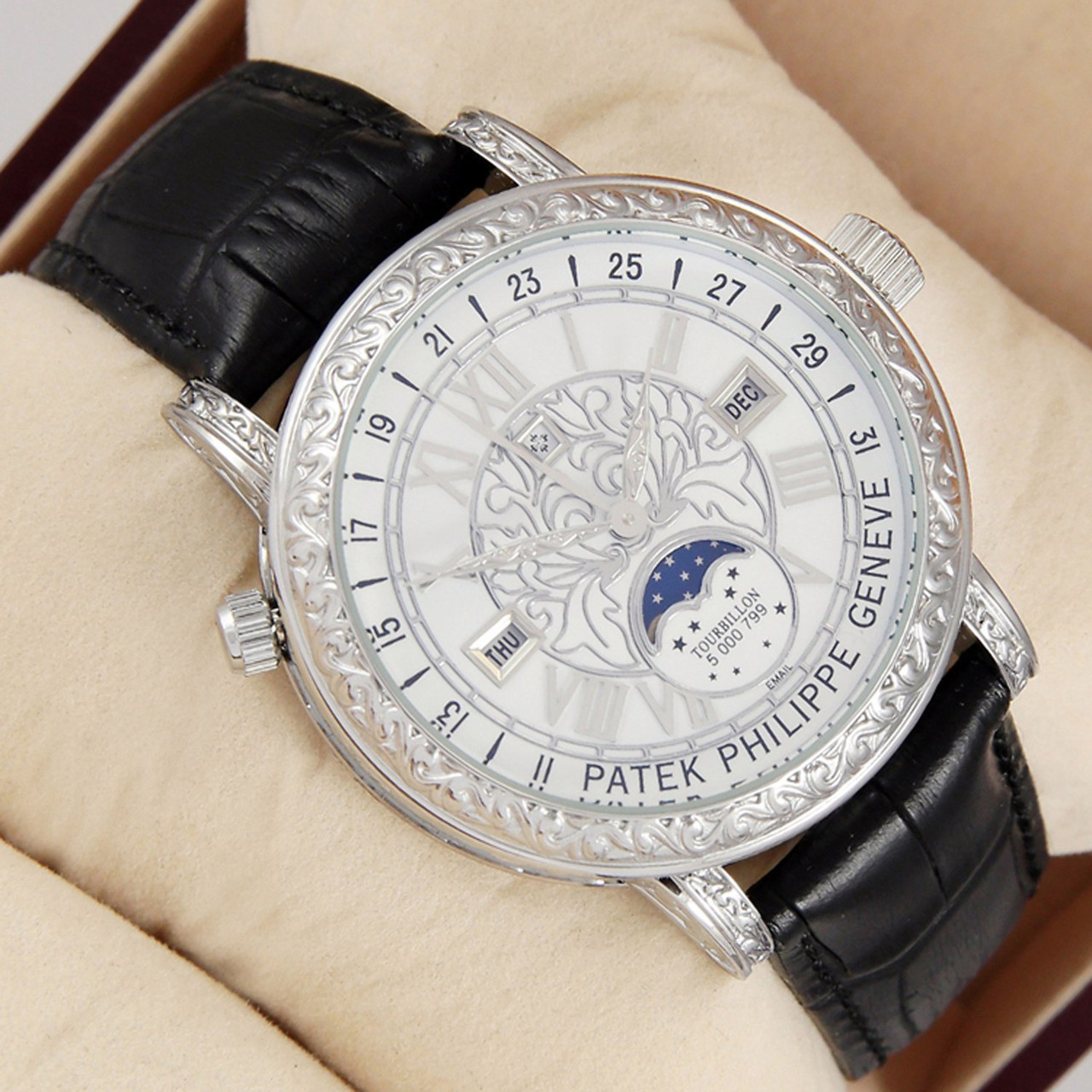 Мужские кварцевые наручные часы Patek Philippe Grand Complications Sky Moon  Tourbillon silver white - Интернет- ec19e99a8ae