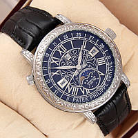 Мужские кварцевые наручные часы Patek Philippe Grand Complications Sky Moon Tourbillon silver black