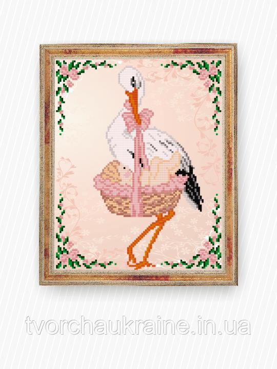 Авторская канва для вышивки бисером «С рождением девочки»