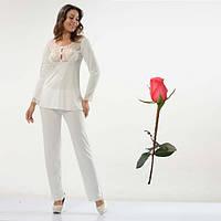 Белая пижама из турецкого трикотажа Т 22310