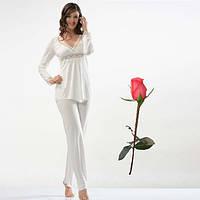 Белая пижама Турецкий трикотаж   Т 22405