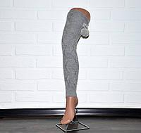 Светло-серые женские гетры, выше колена