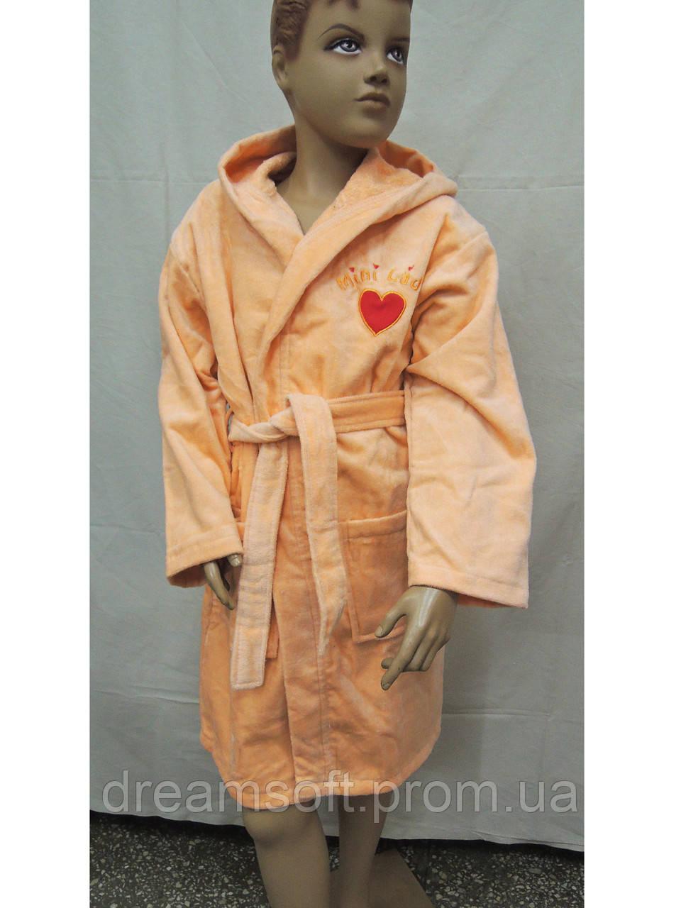 ec3221cbe92bf Халат детский махровый 9-10, 11-12 лет хлопок персиковый, цена 670 ...