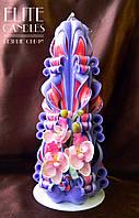 Резная свеча ручной работы с орхидеей, цвета орхидеи, подарочная, 22 см высотой