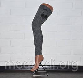 Темно-серые женские гетры, выше колена