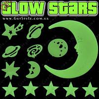 """Светящиеся звезды - """"Glow Stars"""" - 113 шт. + большой месяц!"""