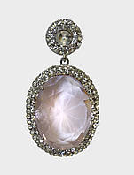 Серьги-подвески с крупными овальными камнями (розовые)
