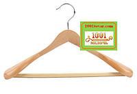 Широкая вешалка, тремпель, плечики для тяжелой или деликатной одежды, деревянная