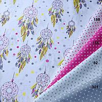 """Ткань с амулетами """"Ловец Снов"""" на белом фоне в сочетании с другими цветами"""