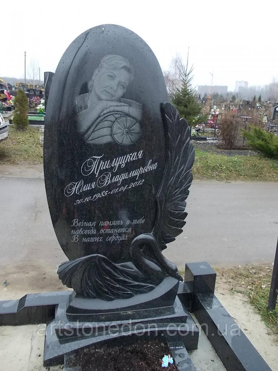 """Памятник эксклюзивный """"Овал с лебедем"""""""