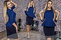 Женское деловое платье с баской 88106