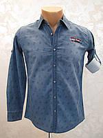 Рубашка для мальчиков джинсовая 128,140 роста