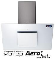 Pyramida HES 30 D-900 (900 мм.) white/AJ наклонная кухонная вытяжка, корпус белый / белое стекло, фото 1