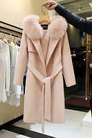 Женское пальто с ремнем и меховым воротником