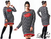 Женское прямое платье с губами 88475 (бат)