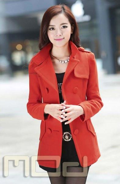 Женское поло пальто с воротником