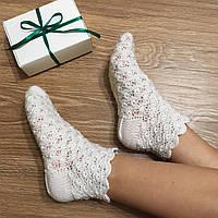 """Теплые вязаные носочки """"Юлия"""" ручной работы из шерсти, в подарочной коробочке"""