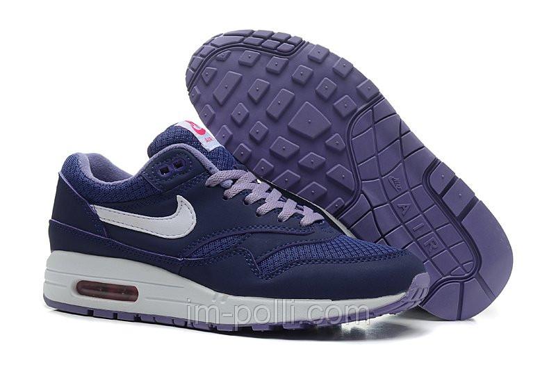 Женские кроссовки Nike Air Max 87 темно-синие с белым