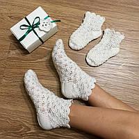 """Носочки мама+дочка 2 пары """"Юлия"""" ручной работы из шерсти, в подарочной коробочке"""