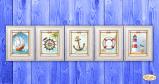 Ткань с рисунком для вышивки бисером Морская коллекция миниатюр (полиптих)