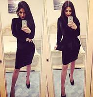 Женское черное бархатное платье 88238