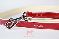 Поводок Brilliance двойной без украшений (ш 25 мм, д 122 см) Collar (красный)