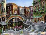 Ткань с рисунком для вышивки бисером Венецианскими улочками