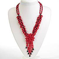 Ожерелье красный Коралл и чешское стекло, бусины зёрна, длина 61см