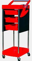 Тележка для парикмахера 3 полочки 528 красная с черным yre