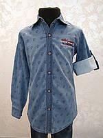 Джинсовая рубашка для мальчиков 110,116,122,128 роста Стильная