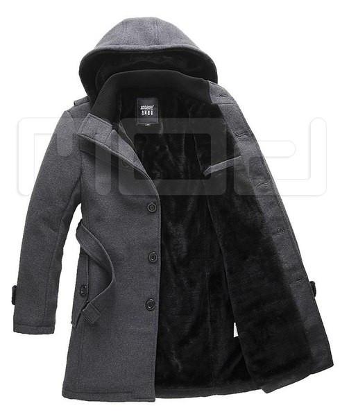 Мужское длинное пальто с капюшоном на меху
