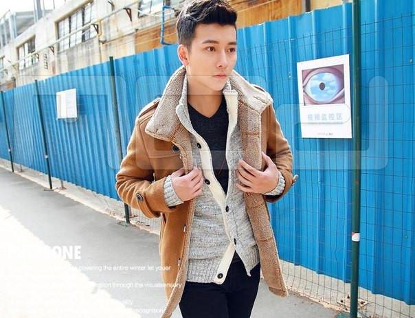 Мужское полу пальто дубленка