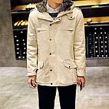 Мужское приталенное пальто на меху, фото 2