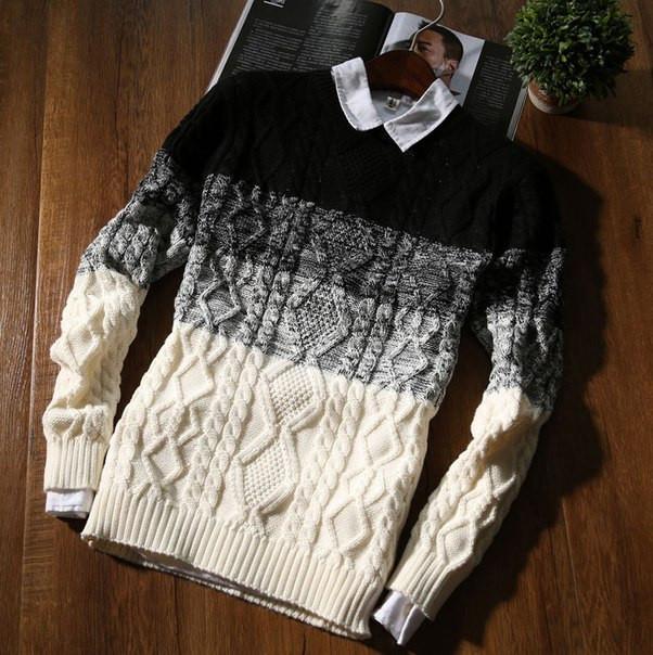Мужской теплый свитер двухцветный