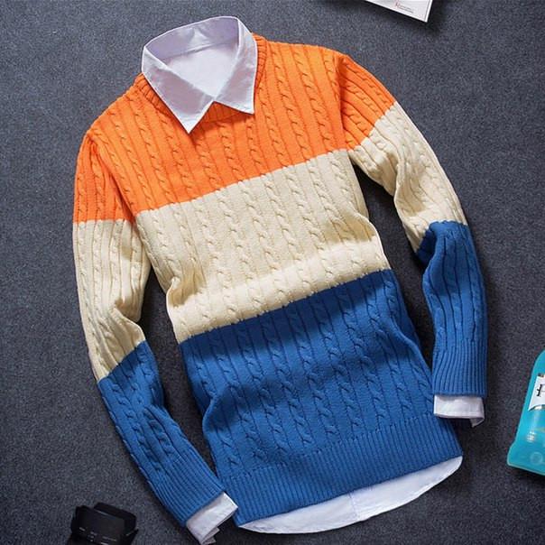 Мужской теплый свитер трехцветный