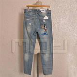 Светлые рваные джинсы BoyFriends с Мики Маусом, фото 5