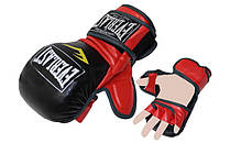 Рукавиці для змішаних єдиноборств MMA PU ELAST BO-4612-BKR (р-р M-XL, чорний-червоний)