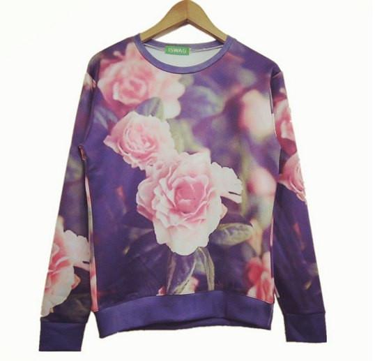 Свитшот с розовыми розами