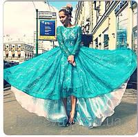 Платье Хвост павлина бирюза