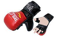 Рукавички для змішаних єдиноборств MMA PU ELAST BO-4612-RBK (р-р M-XL, червоний-чорний)