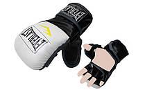 Рукавички для змішаних єдиноборств MMA PU ELAST BO-4612-WBK (р-р M-XL, білий-чорний)