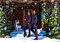 "Зимний тёплый женский  спортивный костюм ""ADIDAS"" трикотаж 3 нитка + начёс, Турция, синий"